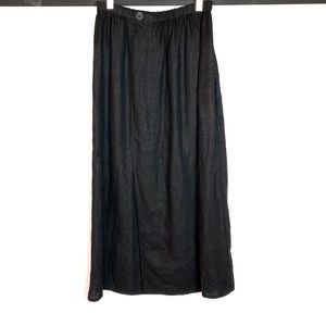 Flax Black Long Linen Skirt